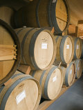 French Oak Barrels of Wine at Midnight Cellars Winery in Paso Robles, California