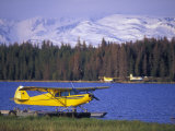 Floatplane on Beluga Lake and Kenai Mountains, Alaska