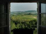 Open Window Looking Out on the Tuscan Hillside, Tuscany, Italy