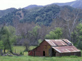 Old Red Barn, Green Meadow, Mountains and Trees, California