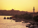 The Golden Horn on the Bosporus from Galata Bridge at Sunset, Istanbul, Turkey