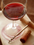 Red Wine Glass with Corkscrew and Cork