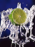 Slice of Lime on Splashing Water