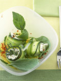 Marinated Courgette Rolls with Mozzarella and Feta Filling