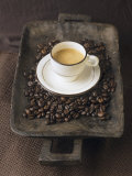 Buy A Cup of Espresso on a Wooden Bowl with Coffee Beans at AllPosters.com