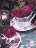 Table and Tableware Decorated with Roses