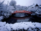 Bridge in Sinsen-En Garden in Snow, Kyoto, Japan Photographic Print