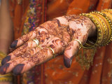Wedding Guest Showing Henna Marking on Her Hand, Dubai, United Arab Emirates