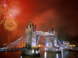Tower Bridge and Fireworks, London, England