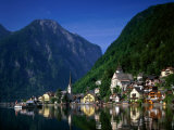 Village with Mountains and Lake, Hallstatt, Salzkammergut, Austria