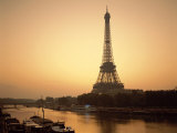 Eiffel Tower and the Seine River at Dawn, Paris, France