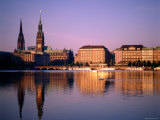 City Skyline and Binnenalster Lake, Hamburg, Schleswig-Holstein, Germany