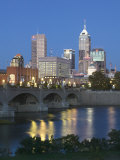 City Skyline and White River, Indianapolis, Indiana, USA