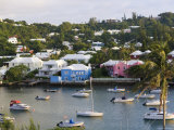 Colourful Houses and Boats, Hamilton Harbour, Hamilton, Bermuda