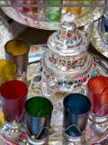 Moroccan Silver Teapot and Glasses, the Souq, Marrakech, Morocco