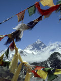 Mount Everest and Prayer Flags, Nepal
