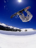 Snowboarder Upside Down in Midair