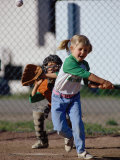 Little Girl Playing Softball