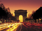 Paris, France, Arc De Triomphe at Night Photographic Print