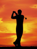 Silhouette of Man Playing Golf