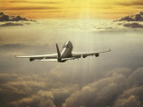 Airplane Flying in Sky Photographic Print