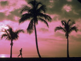 Silhouette of Runner on Beach, Ft. Lauderdale, FL Photographic Print