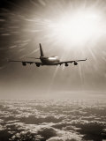 Airplane Flying Through Clouds Photographic Print