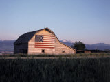 Barn with US Flag, CO Photographic Print