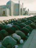 Afghan Men Pray Near the Mosque in Mazar-I-Sharif