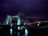 Night View of Tower Bridge, Which Spans the Thames River