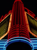 Colorful Neon Centerpiece on the Art Deco Facade a Theater