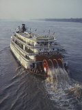 The Delta Queen, a Steamboat, Makes its Way up the Mississippi River