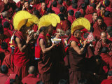 Buddist Monks at Nechung Monastery During Losar Festivities
