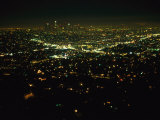 Night View of Los Angeles City Lights Seen from Griffith Observatory