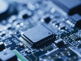 Close View of Chip on Computer Circuit Board
