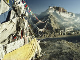 Prayer Flags Wave Outside the Potala, Former Abode of the Dalai Lama