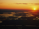 Aerial Sunset of the Suisun Slough, Sacramento Wetlands