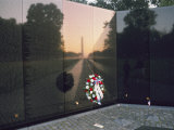 A Memorial Wreath is Placed at the Base of the Vietnam Veterans Memorial