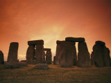 The Setting Sun Casts an Eerie Glow over Stonehenge