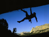 Silhouetted Rock Climber above Tuolumne Meadows