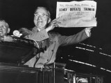 "Harry Truman Jubilantly Displaying Erroneous Chicago Daily Tribune Headline ""Dewey Defeats Truman"""