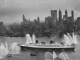 Fireboats Greeting the SS France, as It Enters the New York Harbor on Its Maiden Voyage Photographic Print