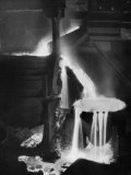 "Molten Steel Cascading in Otis Steel Mill in Historic ""Pouring the Heat"" Photo"