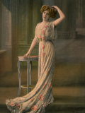 Woman Modeling Pale Green Robe du Soir with Pink Rose Appliques, Designed by Doeuillet