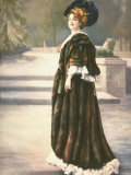 Mlle. Arlette Dorgere in Park Wearing Sable Cape and Elaborate Feather Hat