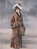 Woman Wearing Rust Velvet Afternoon Suit with Fur Trim and Muff Designed by Bernard
