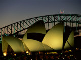 A View at Night of the Famed Sydney Opera House and the Citys Harbour Bridge