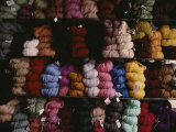 Skeins of Colorful Yarn Adorn a Vendors Shelves