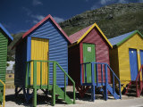 Colorful Changing Huts Line a South African Beach on the Cape