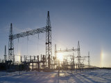 A Twilight View of Sunlight Passing Through an Electric Substation